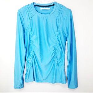 Athleta Breathe Performance Ruched Shirt Blue L